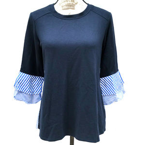 Alyx Layered Look Blouse Blue Plaid Back Top S